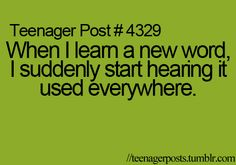 i'm so not kidding.this has happened to me A BUNCH! like every time a learn a new word like an hour later someone starts using it and you feel all sofisticated because you actually know what that dang word means! OH YEAH! Really Funny Memes, Stupid Funny Memes, Funny Texts, 9gag Funny, Funny Teen Posts, Teenager Posts, Funny Relatable Quotes, Relatable Posts, Funny Teenager Quotes
