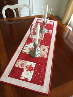 Red & White Quilted Table Runner  Country French Moda by seaquilt