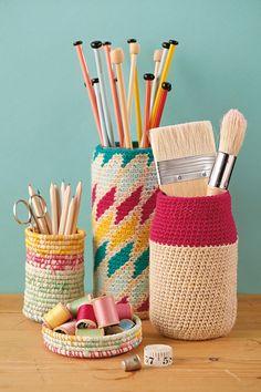 Rope backet tutorials and crochet jar cosy pattern