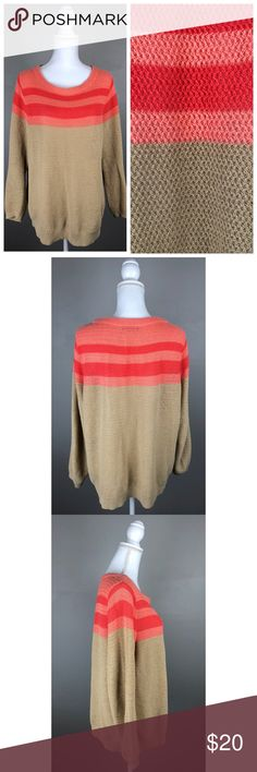 """EUC Lands End Coral Bliss Linen Blend Sweater In EXCELLENT, gently used condition! No visible flaws!  Lands End. X-Large 18. Colorblock, long sleeves, boat-neck. All-over tuck stitch. Semi-sheer. Picturesare part of the description.  55% Linen, 45% Cotton- Hand wash  {Measurements taken flat without stretching} Armpit to armpit approx. 23.5 - 24"""" Length approximately 27"""" FAST SHIPPING!Usually ships same or next business day!! {Seller's note:A2} Lands' End Sweaters Crew & Scoop Necks"""