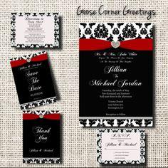 Wedding Invitation SuitePrintableBlack and by GooseCornerGreetings