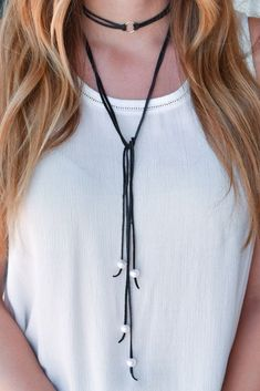 B. Alli Stetson Leather Double Wrap Choker