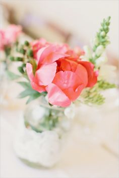 pink peonies in a mason  jar #peonies http://www.weddingchicks.com/2013/12/12/dreamy-tuscan-wedding/
