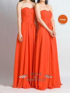 long orange strapless sweetheart bridesmaid dresses
