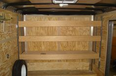 Plywood shelves supported on vertical E-track, an option for bunk beds Enclosed Utility Trailers, Utility Trailer Camper, Enclosed Trailer Camper, Cargo Trailer Camper Conversion, Work Trailer, Trailer Diy, Trailer Plans, Bus Camper, Trailer Shelving