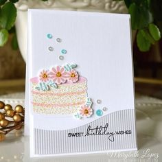 Happy Birthday Nancy! My card for #papertreyink #cardmaking ##diecutting #stamping #birthdaycard #birthdaycakes #prettypinkposh #createalongwithus #sequins