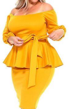 Ezinne - Plus Size Off Shoulder Peplum Dress Plus Size Summer Fashion, Plus Size Fall Outfit, Plus Size Fashion For Women, Plus Size Womens Clothing, Plus Size Outfits, Size Clothing, Plus Size Bodycon Dresses, Plus Size Peplum, Peplum Dresses