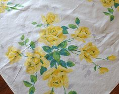Vintage Wilendur Tablecloth, Printed Yellow Royal Rose Cotton, 1950's Kitchen, 54 x 68
