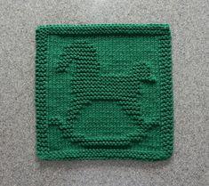 Christmas ROCKING HORSE Knit Dishcloth. Unique Design. Forest Green 100% Cotton Dish Cloth - Wash Cloth. Nursery Decor. Hostess Gift