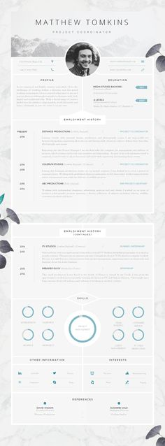 Adorable editable floral 2-page resume template in .psd
