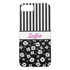 Black n White Flowers n Stripes Monogrammed iPhone 7 Case - monogram gifts unique custom diy personalize