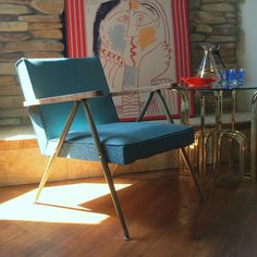 MID CENTURY MODERN Furniture Vintage Danish Modern Lounge Chair 1950s Bent Metal Steel Upholstered Wood Arm Spring Seat 50s Turquoise Blue
