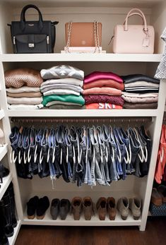 My Closet Tour and Tips for Keeping an Organized and Beautiful Wardrobe Step-by-step tips for organizing your closet and keeping it that way, including how to style it for your personality and tips for perfectly hung jeans! Closet Tour, Wardrobe Closet, Closet Bedroom, Room Decor Bedroom, Diy Room Decor, Teen Closet, Closet Hacks, Closet Small, Wardrobe Ideas