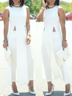 Hot White M High Slit Maxi Dress