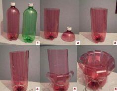 vaso de flores com garrfas PET.