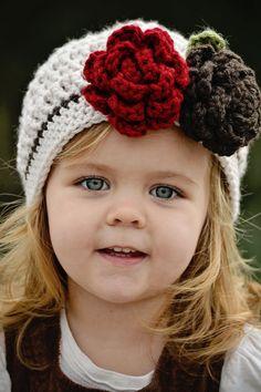Girls Hat Crochet Hat Crochet Linen and Coffee por Oliviella