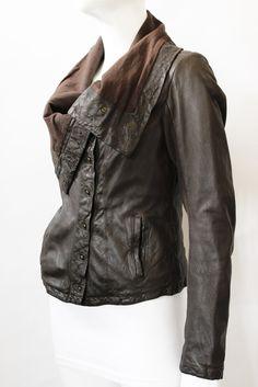 AllSaints Brown/Grey Leather Oversize Collar Jacket