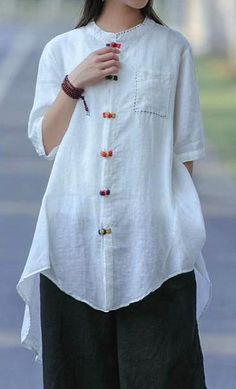 French cotton white shirts Plus Size Vintage Summer Solid Frog Buttons Long ShirtCustom make service available! Pakistani White Dress, Pakistani Dress Design, Summer Outfits Women, Casual Summer Dresses, Banded Collar Shirts, Daily Dress, Casual Tops For Women, Kurta Designs, White Casual
