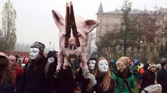 On November 17th in Prague, an effigy of a burning pig was paraded down the street to protest a pig factory farm in Lety on the site of a former Nazi concentration camp. - Read the story at http://freefromharm.org/animal-products-and-culture/burning-pig-effigy-symbolizes-nazi-past/