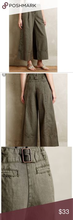 Anthropologie Cartonnier Wide Leg Cropped Pants 6 Army green color wide leg pants. GUC. Anthropologie Pants Boot Cut & Flare