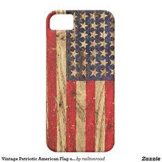 Vintage Patriotic American Flag on Old Wood Grain iPhone 5 Cover