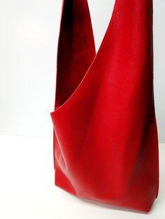 RESERVED FOR CHRIS--Shoulder Handbag Handmade In Red Leather 07e6efa806f7d