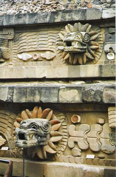 Teotihuacan, Mexico - (detail of tserpents on temple) Temple of the Feathered Serpent is the modern-day name for the third largest pyramid at Teotihuacan, a pre-Columbian site in central Mexico. In the 1980s more than a hundred possibly-sacrificial victims were found buried beneath the structure. The burials, like the structure, are dated to some time between 150 and 200 CE.