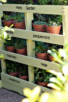 simple container ideas for the herb garden for a small price # Herb Garden Palette Easy … - Diy Garden Projects Herb Garden Pallet, Diy Herb Garden, Pallets Garden, Garden Planters, Pallet Gardening, Herbs Garden, Balcony Garden, Pallet Planters, Patio Plants