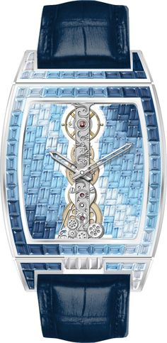 A spectacular interpretation of Corum's Golden Bridge, with the watch mechanism reduced to a thin strip, further enhanced by a cross-hatch pattern of sapphires.