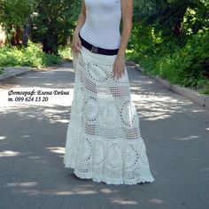 Crochet White Maxi Skirt Bohemian Cotton Long Skirt