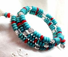 Turquoise and Red Coral Bracelet Multi Wrap Memory by boomerville
