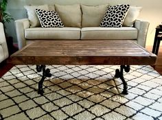 Steel and Pine Wood Weathered Coffee Table by SteelandPine on Etsy https://www.etsy.com/listing/235220429/steel-and-pine-wood-weathered-coffee