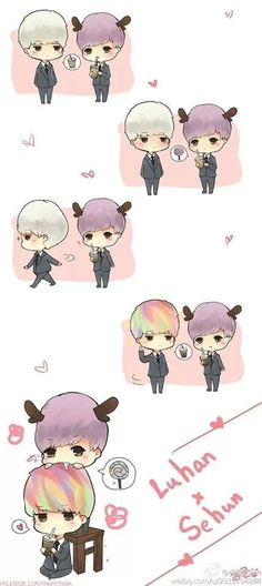 Cute ~ sehun and luhan/ahahahaha cuties Sehun And Luhan, Chanyeol, K Pop, Character Illustration, Digital Illustration, Character Concept, Character Design, Exo Couple, Exo Fan Art