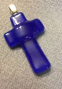 Fused Glass Cross Pendant- Blue *Handmade by ME* Great For Easter #Pendant