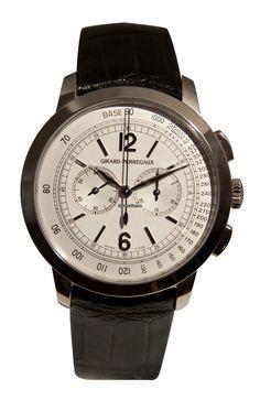 Girard Perregaux 1966 Chronograph $24,542 #GirardPerregaux #watch #watches #luxury #style #chronograph white gold case with crocodile skin bracelet and automatic movement