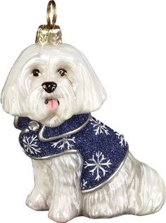 Maltese in Snowflake Coat with Crystals Polish Blown Glass Christmas  Ornament   Want additional info  81c56802c