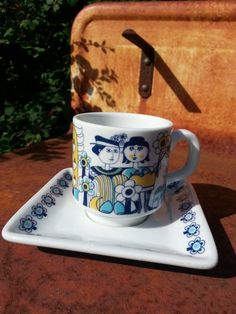 Retro 60s Mosa Maastricht coffee cup and saucer.. designed by Bjorn Wiinblad (style).. made in Holland.. on Etsy, $13.61