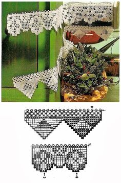 Filet Crochet, Knit Crochet, Yarn Crafts, Diy And Crafts, Crochet Curtains, 3d Paper, Crochet Projects, Tatting, Needlework