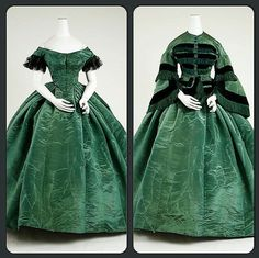 Dress that looks to be made from watered silk, 1858. It has 2 bodices - the short-sleeve with the low neckline for the evening, and the high-necked long-sleeve bodice for daytime wear. Met Museum.