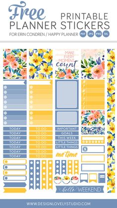 FREE printable planner stickers kit, Planner Freebie, Floral Planner Stickers, Printable Planner Stickers