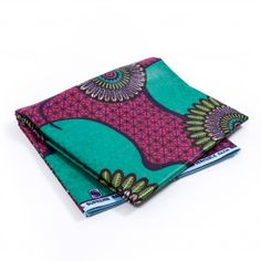 Green and Pink Geometric Waxed Cotton African Print with additional Inlaid Print