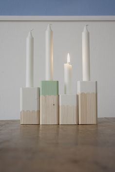 Painted wood candle holders