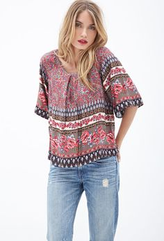 FOREVER 21 Scarf Print Top