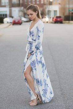 Blue Floral Maxi Dress and Nude High Heels - Pretty Designs