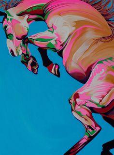"""Horse painting: Yaheya Pasha, """"Azure"""""""
