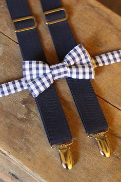 Baby Boy Bow Tie Suspender Set  Blue Seersucker Bow by Talulaknits, $28.99