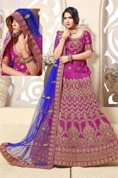 Partywear Lehenga Choli Magenta Colored Banglori Silk Wedding Ghagra Choli #designerlehengacholi #lehengacholis #bridallehengacholi available at ladyindia.com