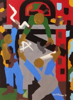 carpenters - by Jacob Lawrence http://www.woodsidebrasethgallery.com/exhibits/master-works-by-northwest-masters-we-are-midyear-in-our-golden-anniversary-and-we-continue-to-celebrate-this-momentous-occasion-by-presenting-a-major-art-exhibition-by-the-most-influential-and-renowned-artists-of-our-region