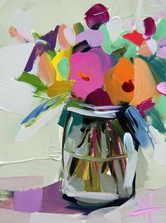Country Flowers in Jar original still life oil painting by Angela Moulton