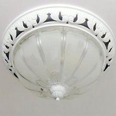 Umbrella+Design+Flush+Mount,+2+Light,+Classical+White+Painting+Glass+-+ILS+₪+273.65